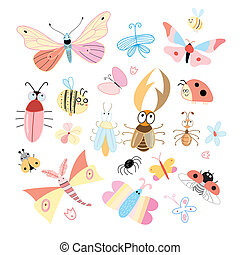 set of funny colored insects on a white background