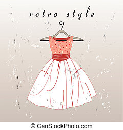 vektor retro dress - beautiful retro dress on a hanger on...