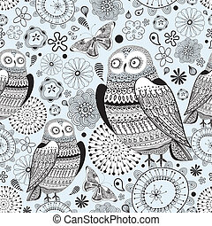 Seamless graphic pattern owls