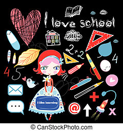 schoolgirl and various school sites - cheerful schoolgirl...