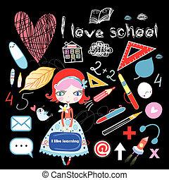 schoolgirl and various school sites - cheerful schoolgirl...