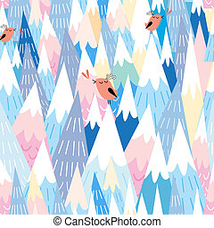 pattern of the mountains and the birds - Seamless pattern of...