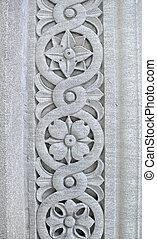 floral, patrón, tallado, piedra, pilar
