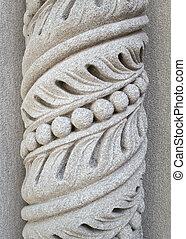 espiral, Padrão, esculpido, pedra, pilar