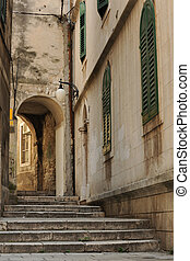 Sibenik, Croatia - Old street of historical croatian town of...