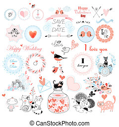 Valentines Day and the day of the wedding set Vector...