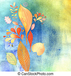 watercolor autumn leaves - beautiful picturesque autumn...