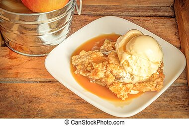 Apple Crisp A La Mode - Fresh baked apple crisp with vanilla...