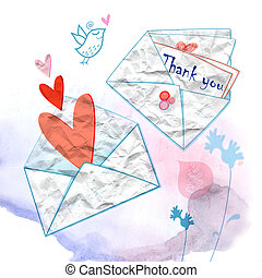 graphical envelopes with hearts - white graphic envelopes...