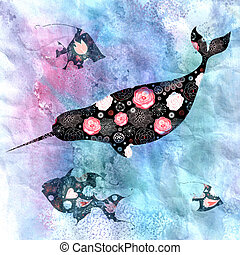 Marine background with narwhals and fish - beautiful...
