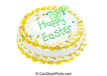Happy Easter festive cake - Happy Easter yellow and white...
