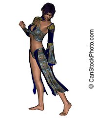 Fashion model - 3D rendered fashion model in extravagant...
