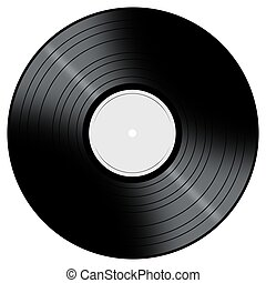 Music Record - Vinyl Record with a color center on a white...