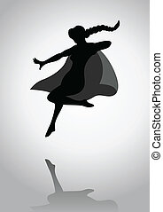 Superheroine - Silhouette of a female figure with superhero...