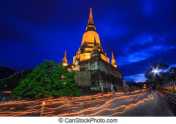 Buddhist Lent Day at night time - Visakha Bucha Day Buddhist...