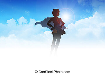 Superheroine - Silhouette of a female figure in superhero...