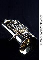 Bass Tuba Euphonium on Black - A gold brass bass tuba...