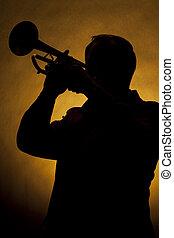 trompeta, jugador, silueta, amarillo