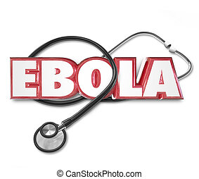 Ebola, 3D, palavra, Estetoscópio, cura, deleite,...