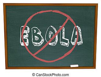 não, Ebola, palavra, chalkboard, parada, cura,...