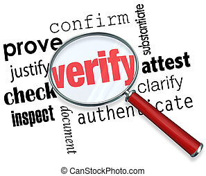 Verify Word Magnifying Glass Certify Prove Check Inspect -...