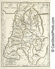 old map - vintage map of holy land