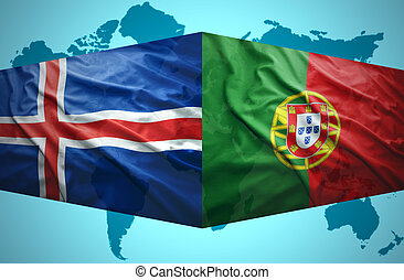 Waving Icelandic and Portuguese flags