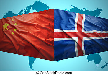 Waving Icelandic and Chinese flags