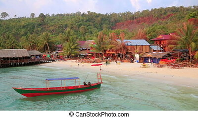 Bungalows at ocean, koh rong island, cambodia