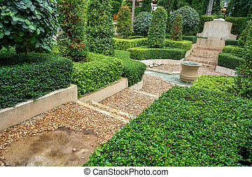 landscaping - Landscaping with trees and decorative...