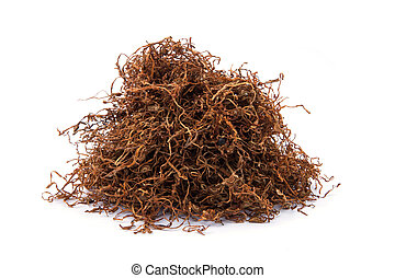 Loose shredded tobacco isolated on white background