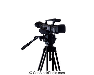 Black video camera mounted on tripod 3/4 view - Mid-range...