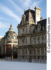 Ice Rink - An ice rink outside the Hotel de Ville City Hall,...