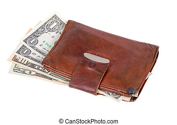 leather wallet with money banknotes US dolars nominal value...