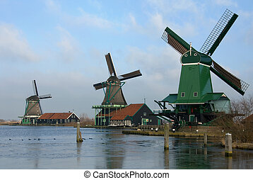Dutch Windmills - Traditional dutch windmills in the quaint...