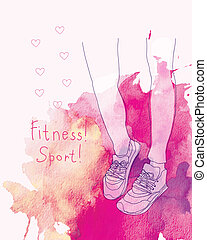 fitness sneakers. vector illustration