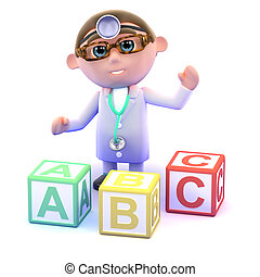 3d Doctor with alphabet blocks - 3d render of a doctor with...