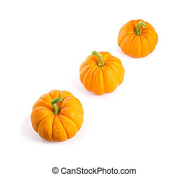 Decorative orange pumpkins, isolated on white background,...