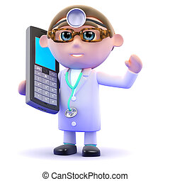 3d Doctor chats on a mobile phone - 3d render of a doctor...