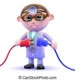 3d Doctor plugs in the power - 3d render of a doctor holding...