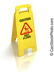 quot;Caution - Wet Floorquot; Sign - Bright yellow wet floor...