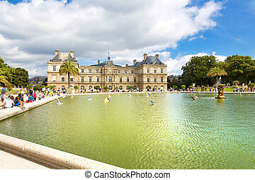 Paris - PARIS, FRANCE, August 9, 2014: Luxembourg Palace and...