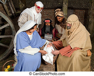 Christmas scene with wisemen - Live Christmas nativity scene...
