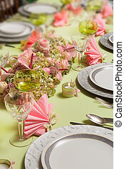 Christmas dinner table in pastel colors