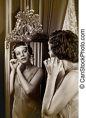 1920s lady in mirror - Stunning vintage 1920s woman looking...