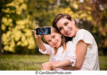 Mother with child selfie