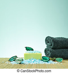 Spa bathing composition of aromatic soap and salt, potpourri...