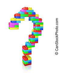 question mark made of blocks construction toy