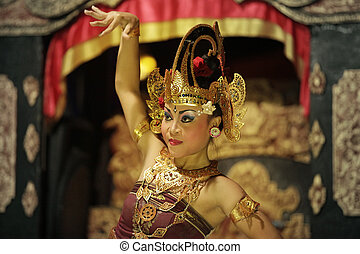 Portrait of the girl in dance - BALI, JIMBARAN, INDONESIA -...