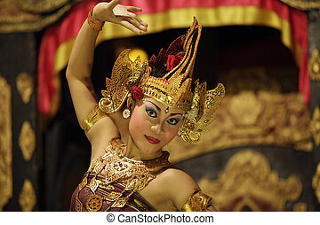 Portrait of the girl in dance - BALI, JIMBARAN, INDONESIA -...